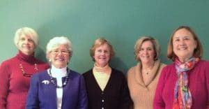 Officers 2013-2014 Susan Mikesell (Treas), Judy Collette (Co-Chair), Abigail Manny (Sec), Nancy Hallett (VP), Jane Cabot (Co-Chair)