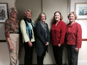 2014-15 Officers Susan Mikesell (VP), Cyndy Bush (Treas.), Nancy Hallett (Co-Chair), Jane Cabot (Co-Chair), Abigail Manny (Sec)